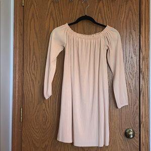 Off the shoulder nude dress